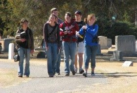 Students birding in a local cemetery