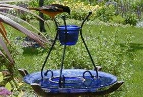 This jelly feeder from a Garden Guides member is made using an old bird bath, which serves as an ant guard as well.
