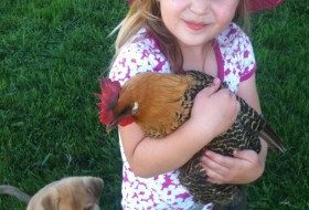 Anna holds a chicken