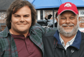 Jack Black and Greg Miller on the movie set of The Big Year.