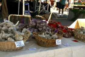 Some of the many varieties of garlic offered. Photo by author