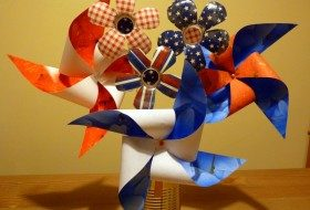 Fourth of July Decorations: Pinwheels and Flowers