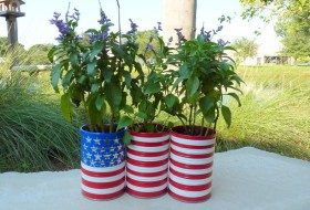 Fourth of July: Tin Can Patriotic Planters