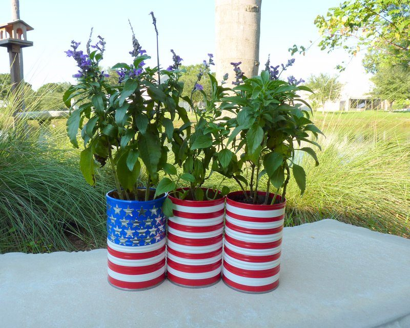 American flag planters on display outside