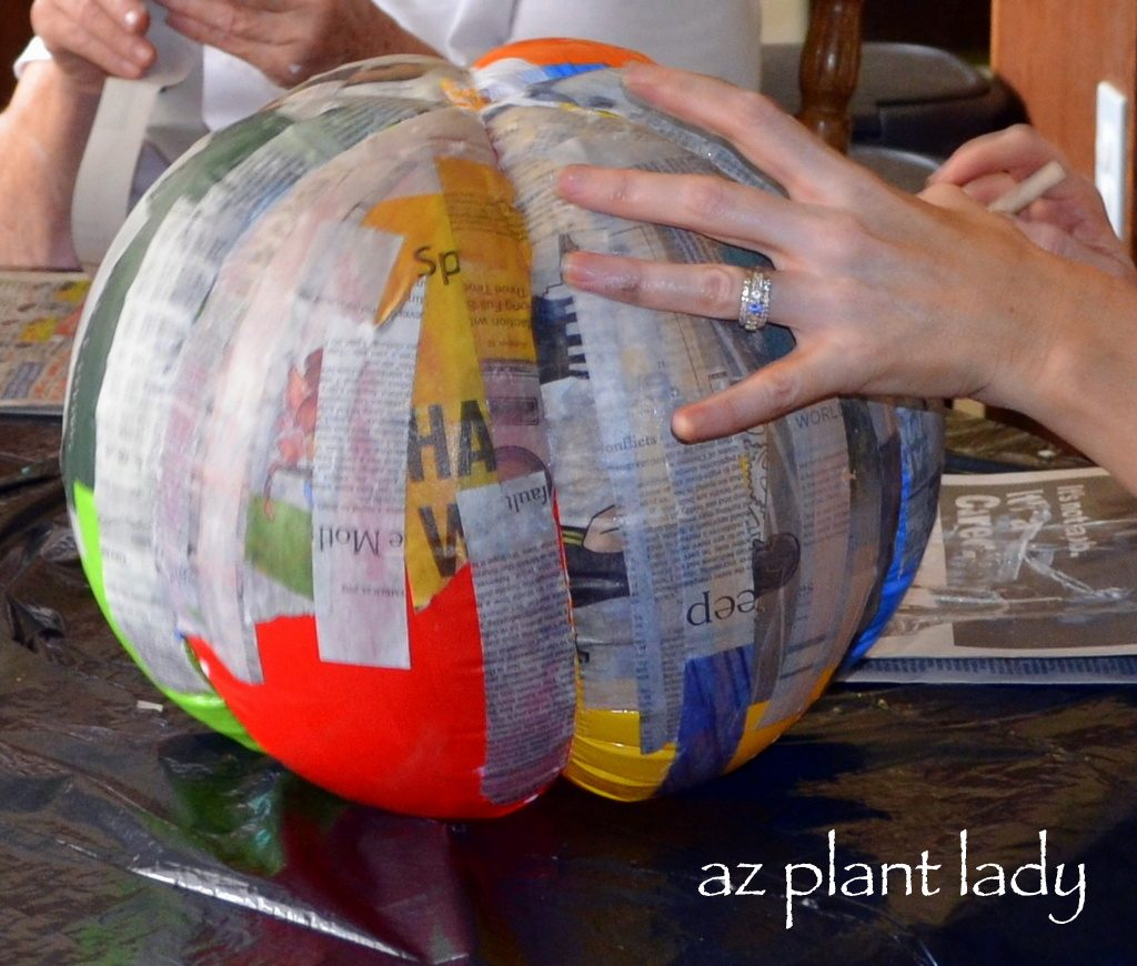 create your own pumpkins using paper mache birds and blooms