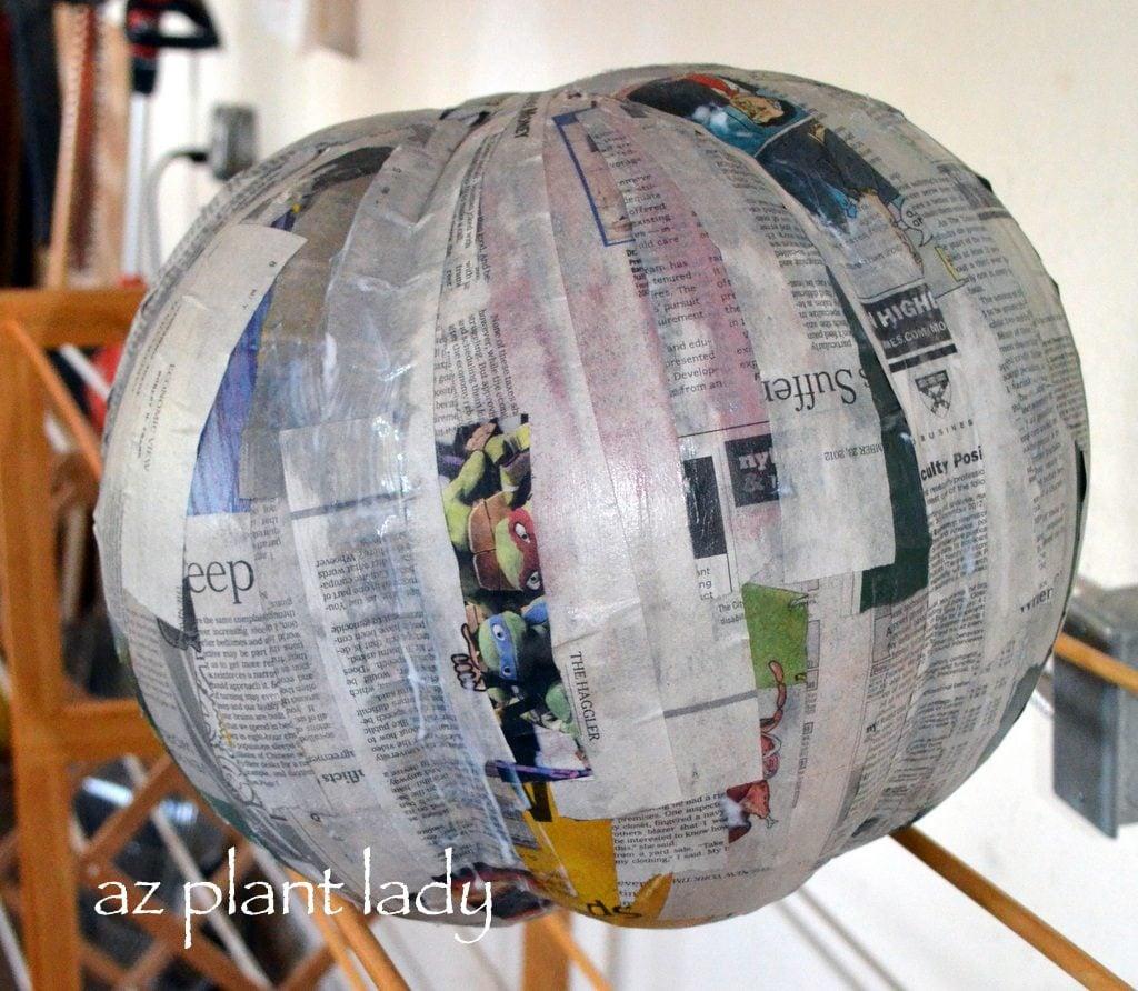 papier-mache pumpkin drying