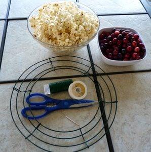 Popcorn Cranberry DIY Bird Feeder Wreath Materials