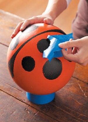 Bowling Ball Ladybug Garden Art