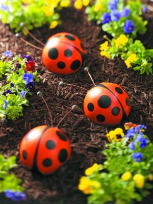 Bowling Ball Garden Art Ladybugs