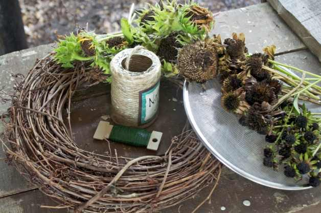 DIY Bird Feeder Wreath Materials