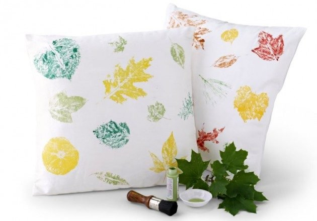 Leaf Painted Pillow