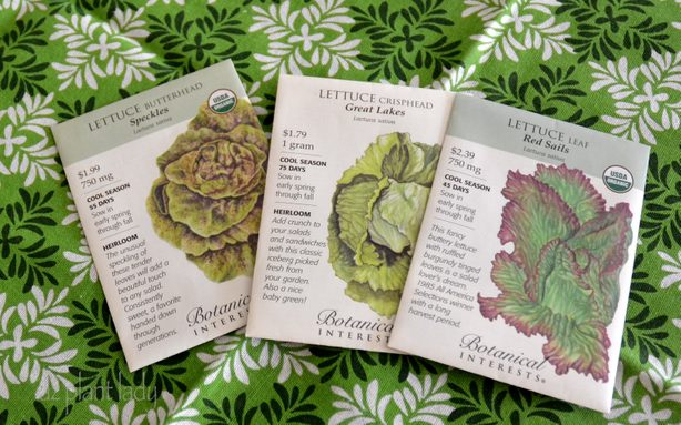 Lettuce seed packets