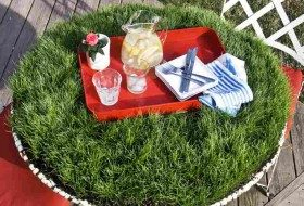 Grass-Covered DIY Picnic Table