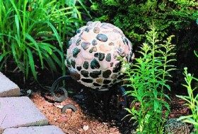 River Rock Bowling Ball Garden Art Horizontal