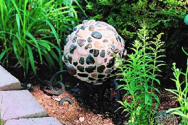 River Rock Bowling Ball Garden Art Horizontal