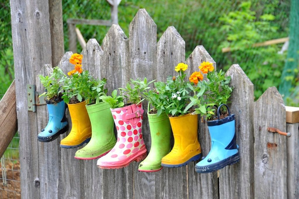 garden boots used as planters