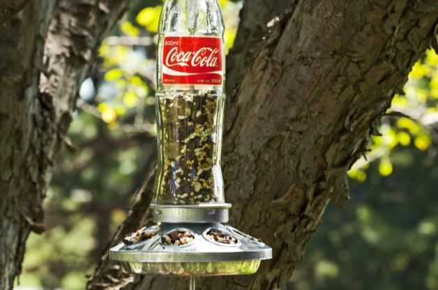 Soda Bottle Homemade Bird Feeder