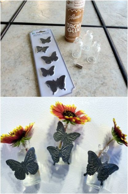 Bud Vase Magnets Butterflies