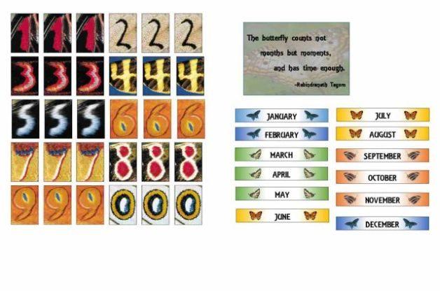 Butterfly DIY Perpetual Calendar Numbers