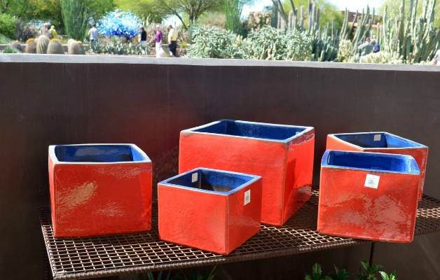 colorful orange plant containers
