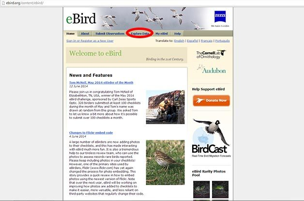 From the eBird Homepage, www.ebird.org, select the Explore Data tab.