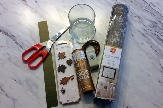 Birch Bark DIY Candle Holder Materials