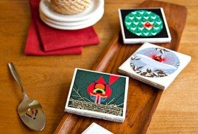 Ceramic Tile Holiday DIY Coasters