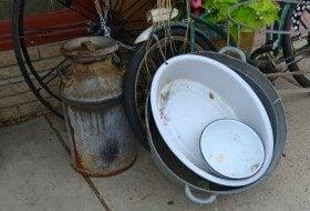enamelware bowl repurposed garden container