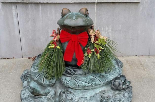 Natural Christmas Decor Frog