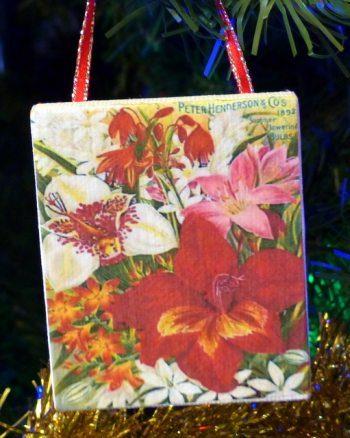 Vintage Flowers Canvas Ornaments 3