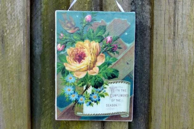 Vintage Flowers Canvas Ornaments Sign