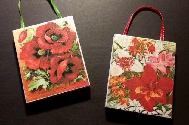 Vintage Flowers Canvas Ornaments
