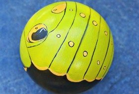 Caterpillar Bowling Ball Art
