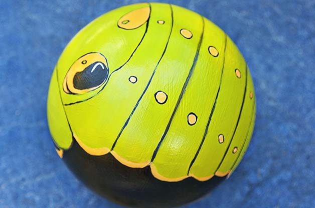Caterpillar Bowling Ball Art