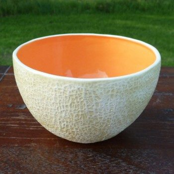 Cantaloupe-shaped bowl molded from a real cantaloupe.  (Find out how you can get your own here.)