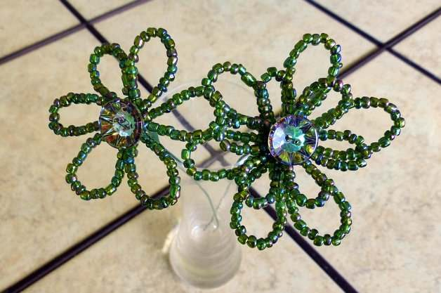 DIY Bead Flowers Pot Stakes