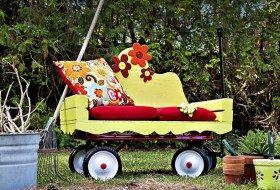DIY Garden Wagon Seat