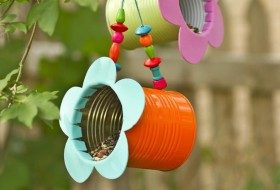 DIY Tin Can Flower Bird Feeder