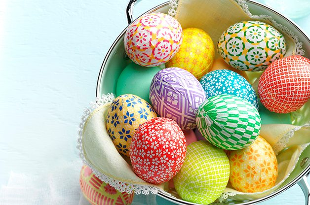Decorate Easter Eggs With Colorful Washi Paper Birds And Blooms