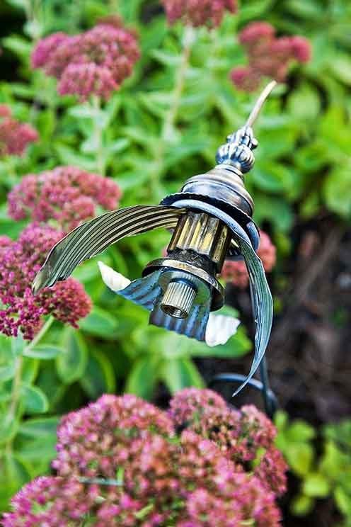 Upcycled Hummingbird Garden Sculpture Birds And Blooms