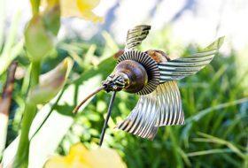 Upcycled Hummingbird Garden Sculpture