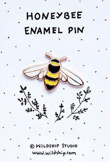 honeybee enamel pin