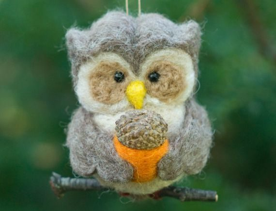 Nature Ornaments Owl scratchcraft Etsy