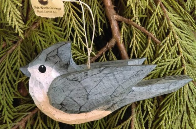 Nature Ornaments Titmouse oldeworldcarvings Etsy