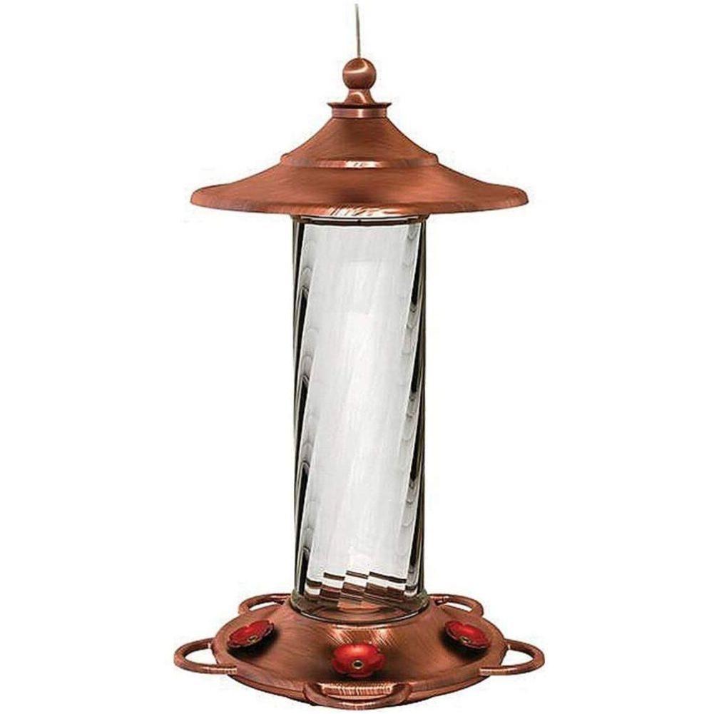 Copper hummingbird feeder