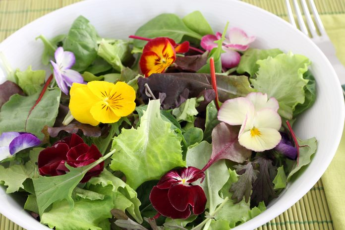 Flowers you can eat in a salad.