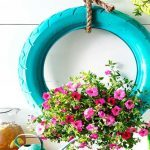 Make a DIY Hanging Tire Planter