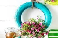 diy hanging tire planter with flowers