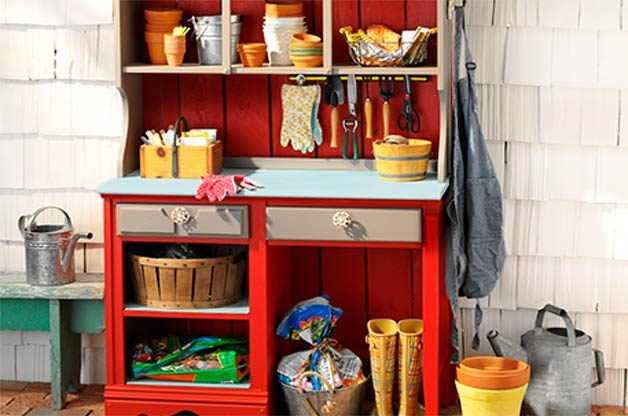 diy potting station made out of a dresser