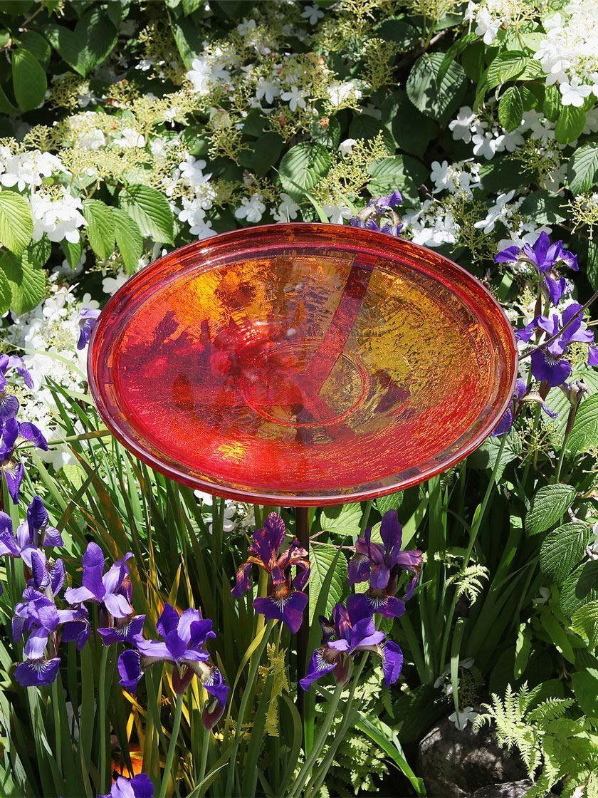 Crackle Glass Birdbath